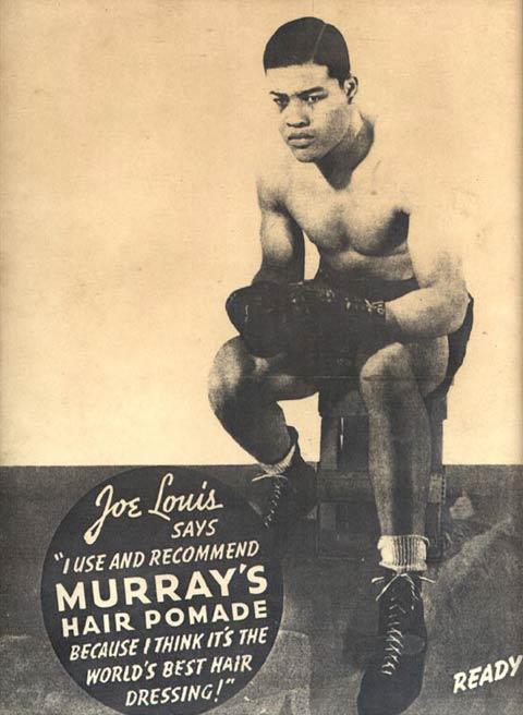 Werbeplakat aus dem Jahre 1930 von Murray`s mit dem Schwergewichtsboxer Joe Lewis, welcher selbst nur  die weltbeste Pomade benutzte -(C) murrayspomade.com