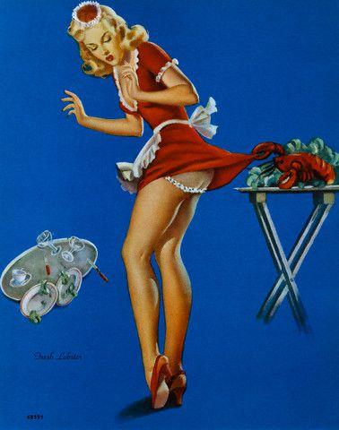 """""""Fresh Lobster"""" von Gil Elvgren zeigt ein Vintage Pin up Girl, dem ein ungewolltes Missgeschick widerfährt (C)-wikimedia.org"""
