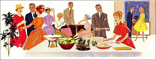 Ein buntes Buffet und diverses Fingerfood gehörte auf jede Cocktailparty der 50er Jahre (C)- queensofvintage.com