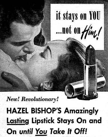 Der erste kussfeste Lippenstift in den 50er Jahren wurde von der Firma Hazel Bishop hergestellt-(C)pinterest.com