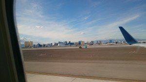 Blick aus dem Flugzeug auf Las Vegas
