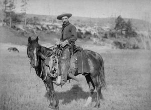 Cowboy auf Pferd.