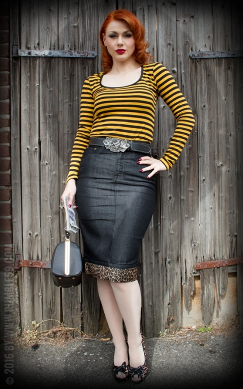 Rumble59 Ladies Denim - Perfect Pencil Skirt - schwarz