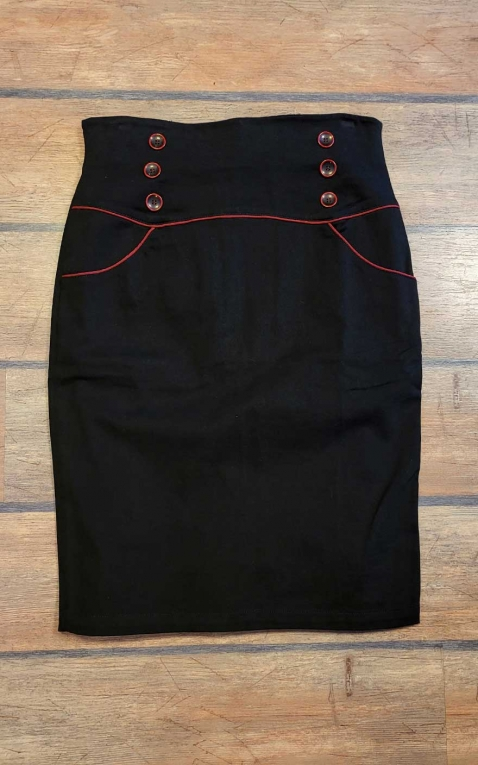 Last Chance - Rumble59 Ladies - High Waisted Pencil Skirt - Red Line