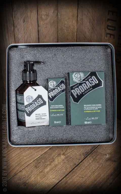 Proraso Bartpflege Set mit Balsam, Öl und Reiniger, Cypress & Vetyver