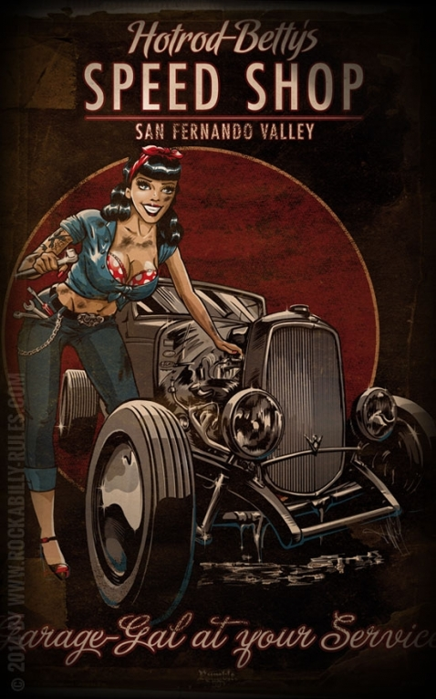 Rumble59 Poster - Hotrod Bettys Speed Shop