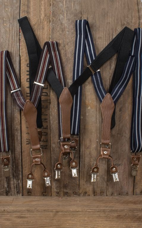 Suspenders with clips and leather insert