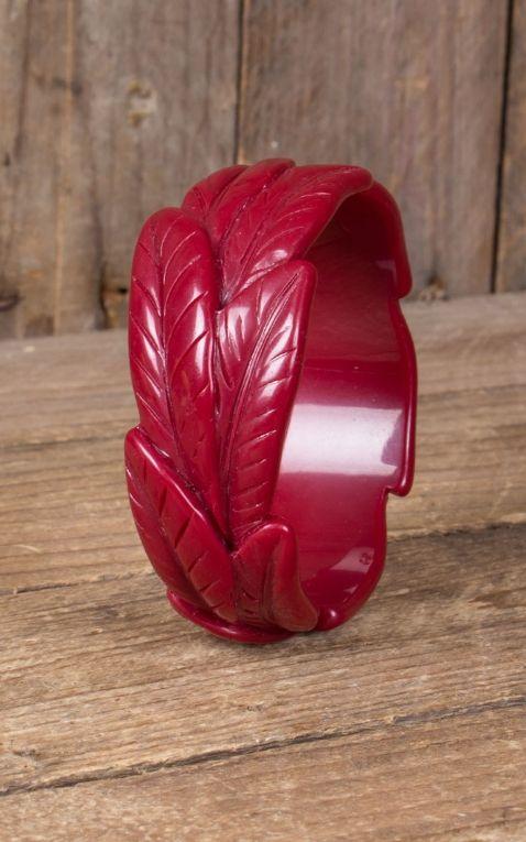 Retro Vintage Armreif im Blatt | Palmen Design, rot