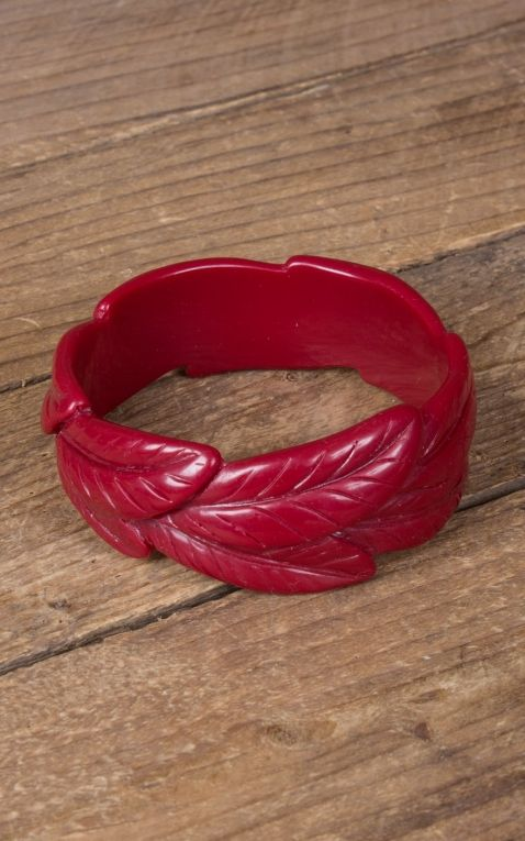 Retro Vintage Leaf Bangle | Palm Design, red