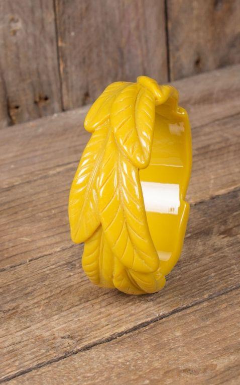 Retro Vintage Leaf Bangle | Palm Design, yellow