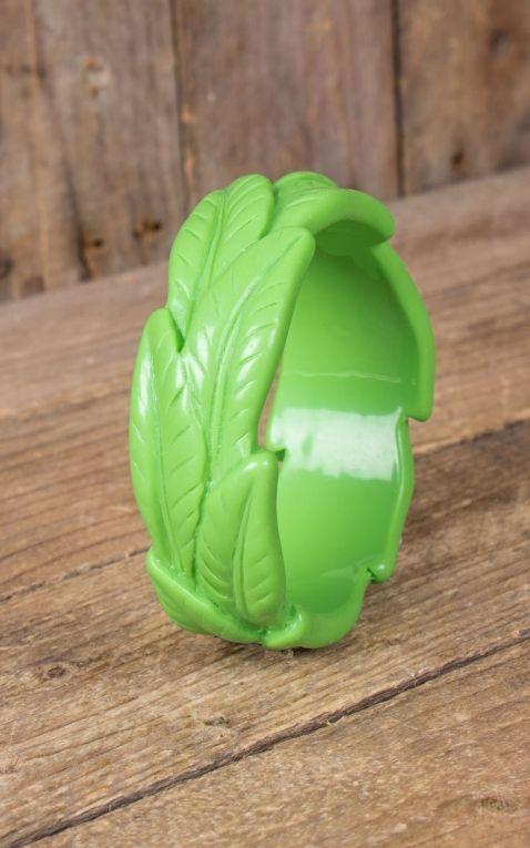 Retro Vintage Leaf Bangle | Palm Design, green