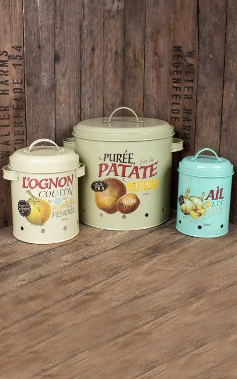 Lot de 3 pots de conservation en émail Pommes de terre, oignons, ail