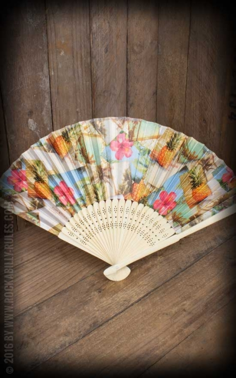 Bamboo Fan with Hawaiian designs | Hibiscus, pineapple