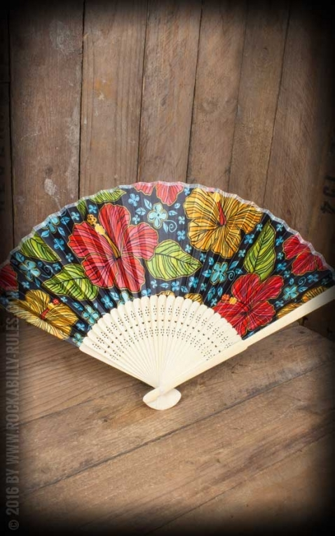 Bamboo Fan with Hibiscus flowers
