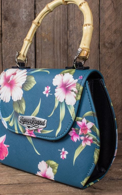 Liquorbrand Bamboo Handbag Hawaii Flowers Luau