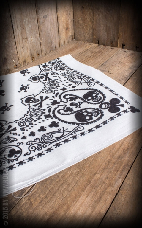 Bandana with Skulls and Playing cards, white