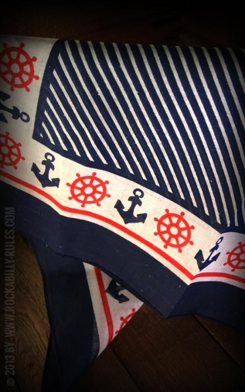 Navy Anchor & Helm Bandana