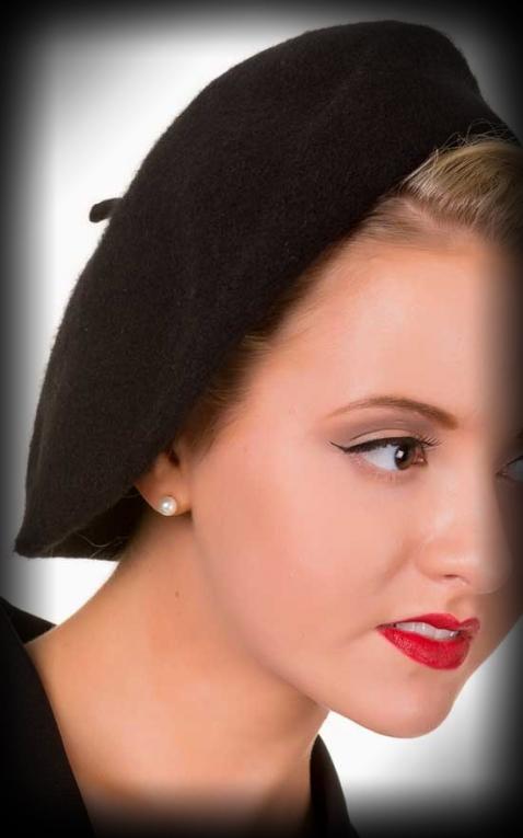 Beret Wool Hat Viviane, black