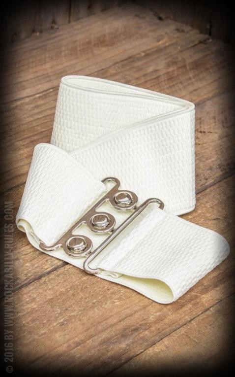 Banned Elastischer Pin-Up Gürtel, elfenbeinfarben