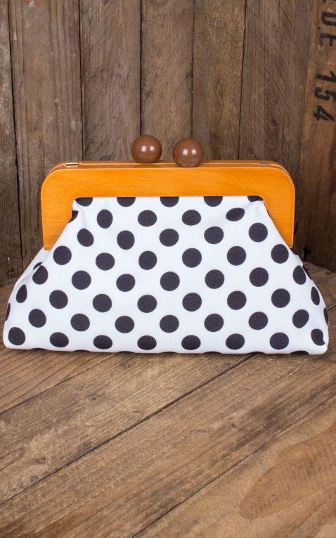 Banned Handtasche | Clutch Genevieve Polkadot, weiß