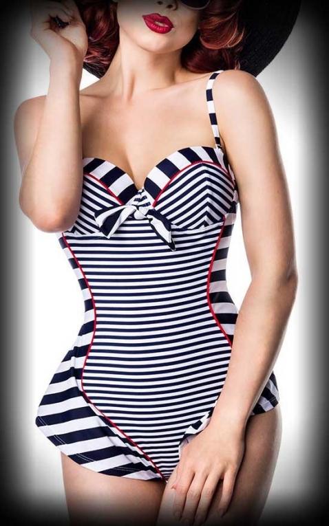Belsira Retro Bathing Suit Striped Vivien, blue white