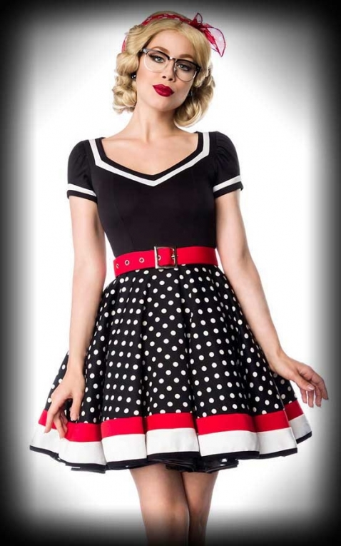 15d2c728ccd74c Belsira - Polkadot Dress with Belt | Rockabilly Rules