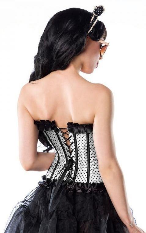 Belsira Rockabella Corsage Polkadots, blanc noir