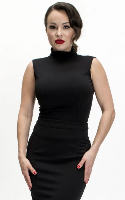 Bettie Page Clothing - Nicole Top, noir