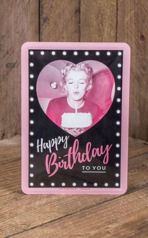 Carte Postale En Métal - Marilyn Monroe Happy Birthday