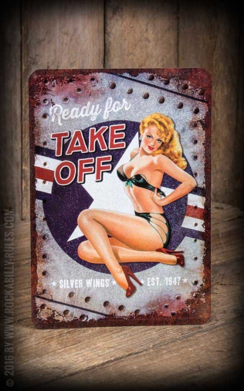 Blechpostkarte - Pin-Up Motiv Ready for Take Off
