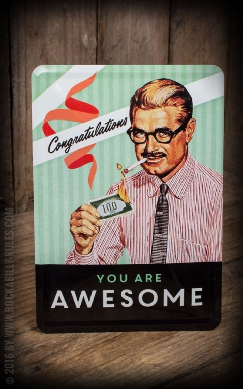 Tin plate postcard - You Are Awesome