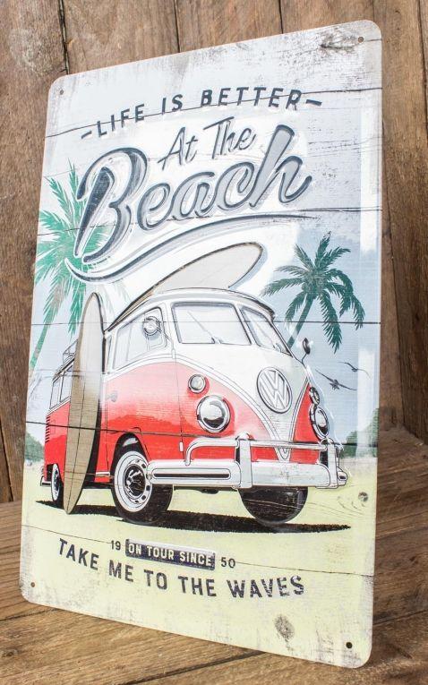 Vintage Blechschild - VW Bulli Beach, 20 x 30 cm