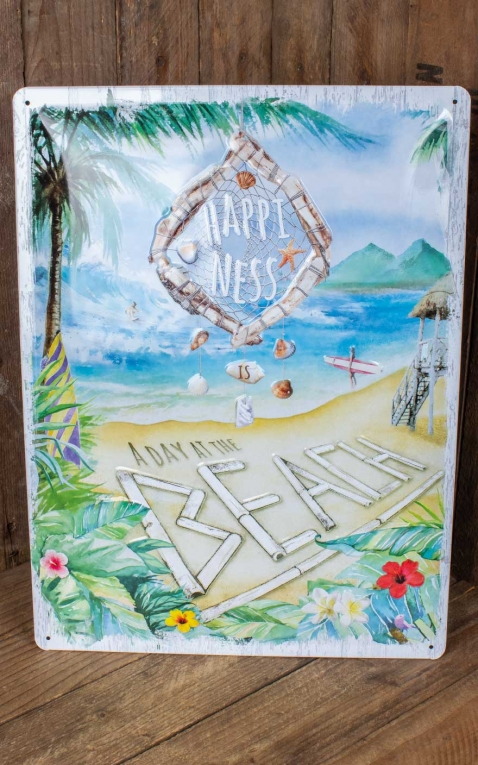 Plaque en métal 30 x 40cm Happiness is a day at the beach