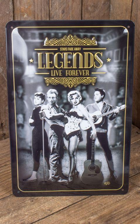 Vintage Blechschild - Legends Live Forever, 20 x 30 cm
