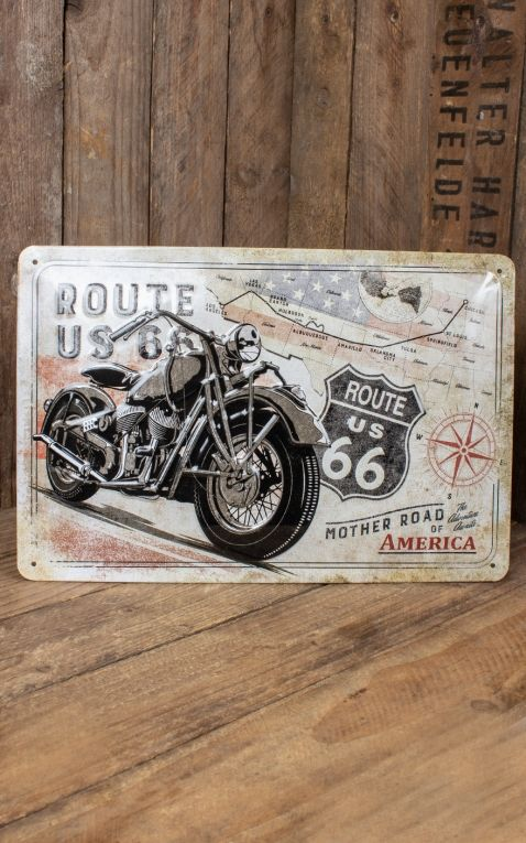 Plaque en Métal Vintage - Route 66 Bike Map, 20 x 30 cm