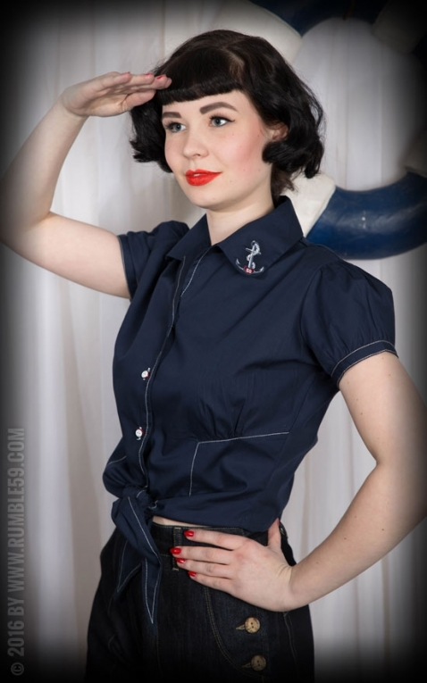 Rumble59 Ladies - Bluse Anchors Aweigh!