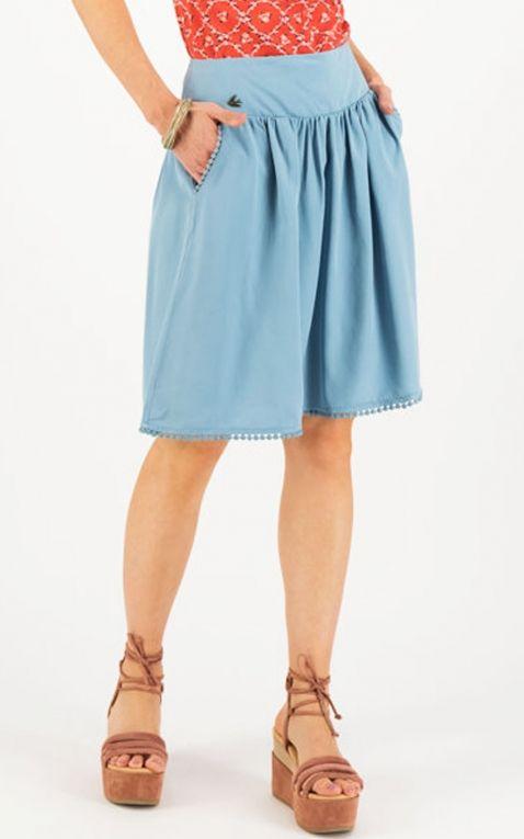 Blutsgeschwister Jupe Logo Woven Skirt, bleu pâle