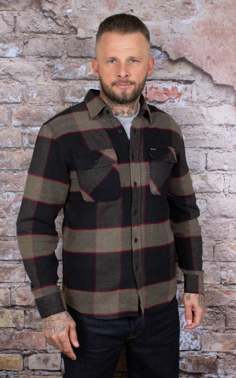 Brixton - Flannel Shirt Bowery, charcoal