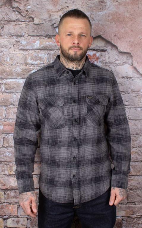 Brixton - Flannel Shirt Bowery Reserve, black grey Mix