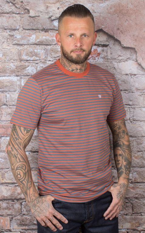 Brixton - Streifen T-Shirt Pablo, henna orion blau