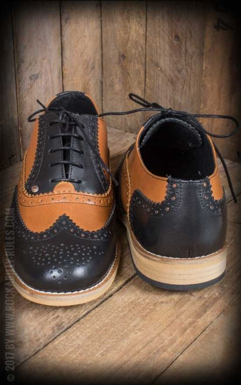 Steelground Budapester Schuhe, schwarz-braun