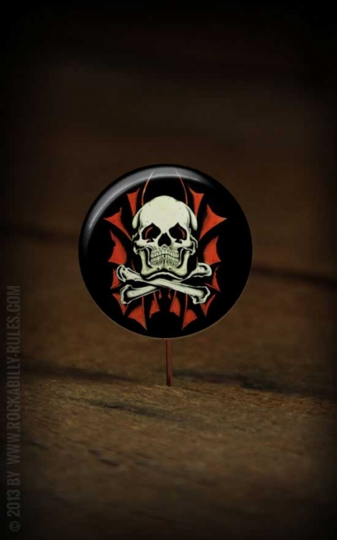 Button Skull red 065
