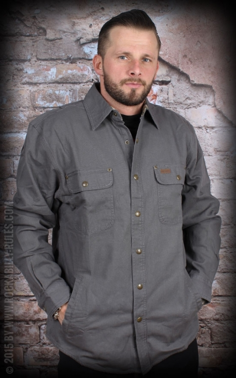 Carhartt - Weathered Canvas Shirt Jacke, gravel