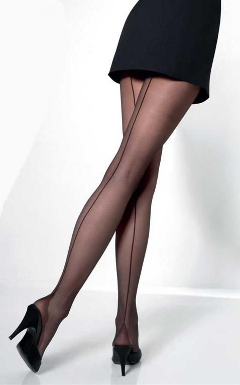 Ce Nylon collant à couture Vienne, noir