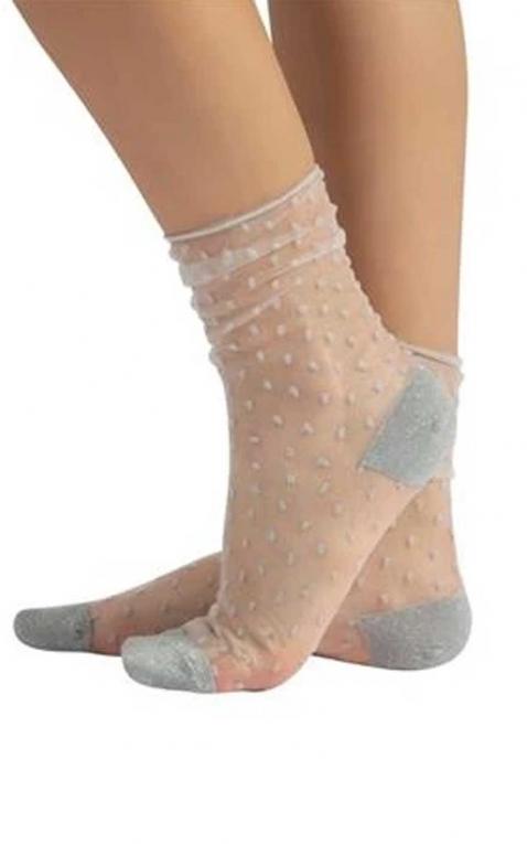 Cette Nylon Strümpfe | Socken, Polkadots, silber