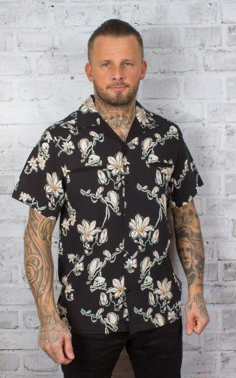 Chet Rock Hawaiihemd Skull and Flowers Shirt