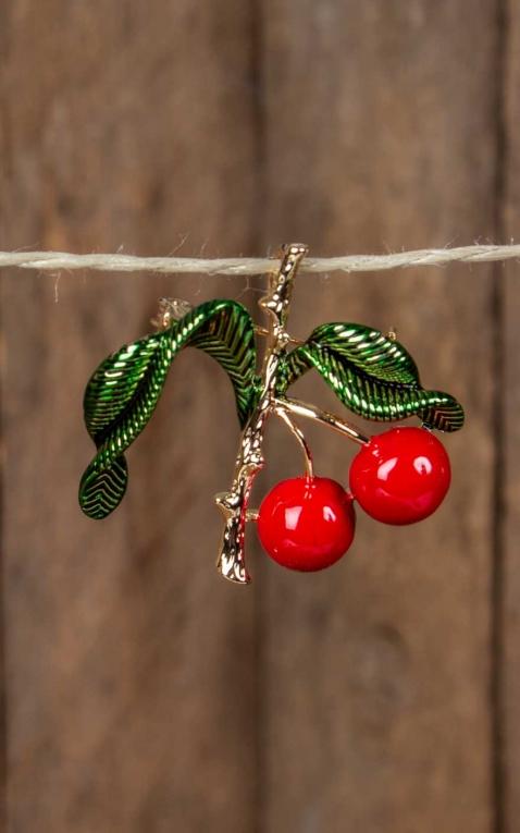 Collectif Vintage Cherry Branch Brooch