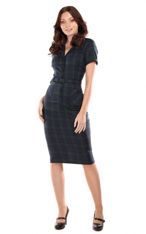 Collectif Pencil Skirt Kleid Caterina Blackwatch Check