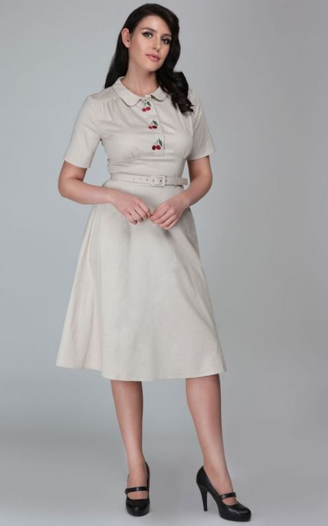 Collectif Robe Swing Classic Doriane Cherry