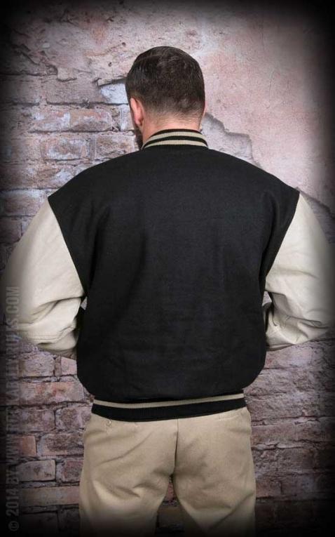Leder Baseball Jacke - schwarz